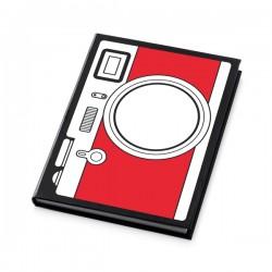 Caderno. Cartão. Com 72 folhas pautadas. 110 x 148 mm