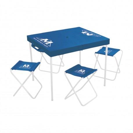 Mesa Prática Portátil com Banquetas Personalizada