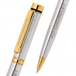 Caneta de Metal Personalizada Prata escovado com detalhes Dourado