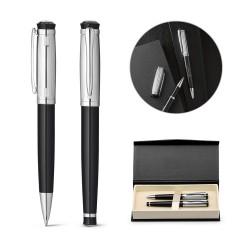 Kit com 2 canetas personalizadas em metal com caixa para brinde